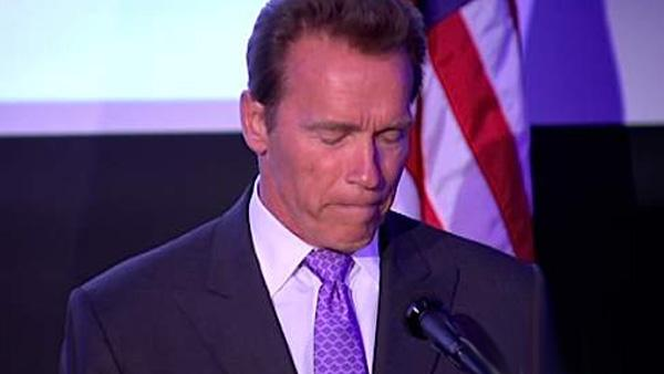Arnold Schwarzenegger speaks at the Skirball Cultural Center in Los