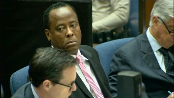 Dr. Conrad Murray is seen at his involuntary manslaughter trial in downtown Los Angeles on Thursday, Oct. 6, 2011.