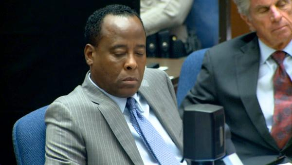 Oct. 11, 2011: Conrad Murray appears at his involuntary manslaughter trial and listens to the second part of his interview with police detctives as it is played to the jury. - Provided courtesy of OTRC