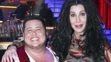 Cher reacts poses with her son LGBT activist Chaz Bono at round four of Dancing With The Stars on Oct. 10, 2011.