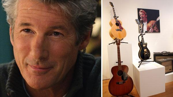 Richard Gere appears in a still from the 2008 film, Nights in Rodanthe. / Classic guitars and amplifiers from the collection of actor Richard Gere are displayed at Christies, Thursday, Oct. 6, 2011 in New York. - Provided courtesy of Warner Bros. Pictures / AP Photo / Jason DeCrow