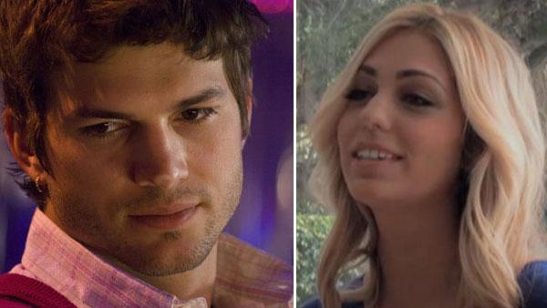 Ashton Kutcher appears in a still from his 2009 film, Spread. / Sarah Leal appears in a still from an Us Weekly video interview. - Provided courtesy of Barbarian Films / Voltage Pictures / Us Weekly