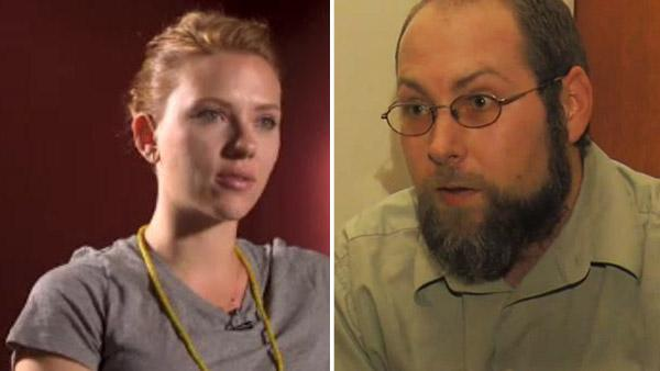 Scarlett Johansson appears in a still from a September 24, 2011 interview with CNN. / Christopher Chaney appears in a still from an October 12, 2011 interview with Fox 30: Action News Jacksonville. - Provided courtesy of CNN / Fox 30: Action News Jacksonville