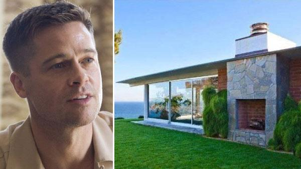 Brad Pitt appears in a still from the 2011 film, Tree of Life. / Brad Pitts Malibu beach house appears in an undated photo. - Provided courtesy of Summit Entertainment / Fox Searchlight Pictures / Realtor.com