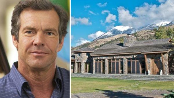 Dennis Quaid appears in a still from the 2004 film, In Good Company. / Dennis Quaids Montana ranch appears in a real estate listing photo. - Provided courtesy of Universal Studios / Sothebysrealty.com