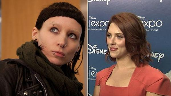 Rooney Mara appears in a scene from the U.S. remake of The Girl With The Dragon Tattoo. / Scarlett Johansson appears at 2011 Comic-Con in San Diego in August 2011. - Provided courtesy of Columbia TriStar / OTRC