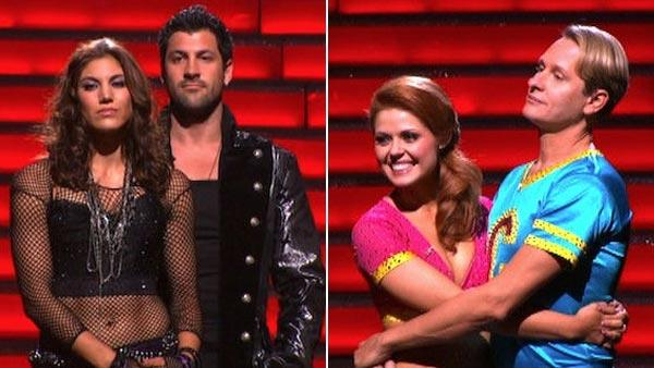 Hope Solo and her partner Maksim Chmerkovskiy (left) and Carson Kressley and his partner Anna Trebunskaya (right) wait to find out which of the two teams will be eliminated from Dancing With The Stars on Tuesday, Oct. 18, 2011. - Provided courtesy of ABC