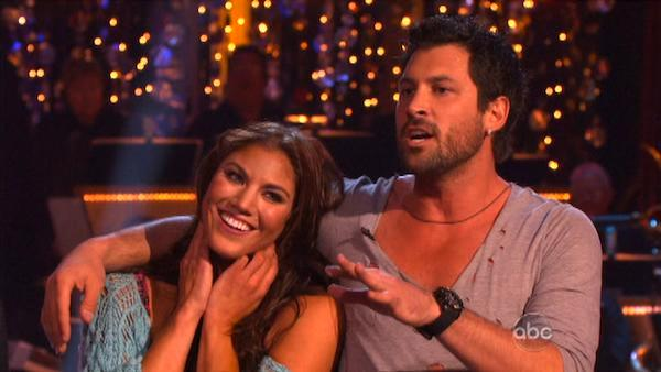 U.S. soccer star Hope Solo and her partner Maksim Chmerkovskiy received 20 out of 30 from the judges for  their Rumba on the October 24 episode of Dancing With The Stars. - Provided courtesy of ABC