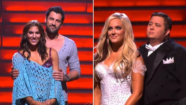 LGBT activist Chaz Bono and his partner Lacey Schwimmer, U.S. soccer star Hope Solo and her partner Maksim Chmerkovskiy await possible elimination on Dancing With The Stars: The Result Show on Tuesday, October 25, 2011. - Provided courtesy of ABC