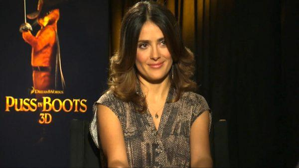Salma Hayek talks to OnTheRedCarpet.com about 'Puss in Boots.'
