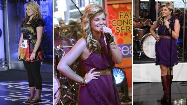 Lauren Alaina performs in front of the judges on 'American Idol' on an episode that aired on Jan. 27, 2011. / Lauren Alaina performs on 'Good Morning America' on October 11, 2011