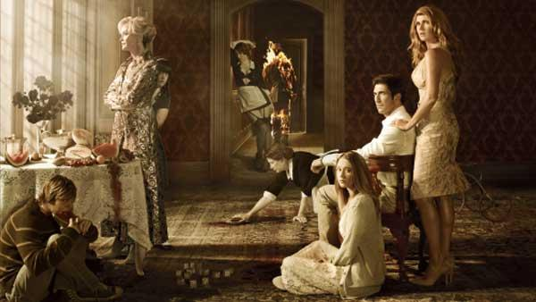 The cast of American Horror Story appears in a promotional photo for the series in 2011. - Provided courtesy of FX