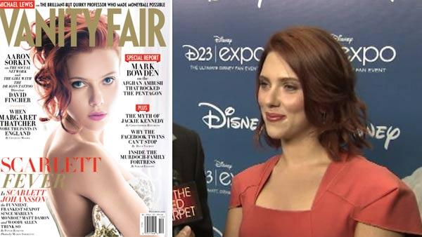 Scarlett Johansson appears on the cover of Vanity Fairs December 2011 issue. / Scarlett Johansson and Jeremy Renner appear at Comic-Con in August 2011. - Provided courtesy of OTRC / Vanity Fair