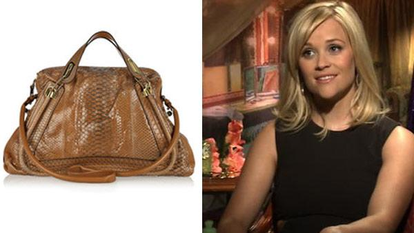 A photo of the Chloe Paraty medium python skin bag, part of its 2011 collection. / Reese Witherspoon talks to OnTheRedCarpet.com about her 2011 movie Water For Elephants in April 2011. - Provided courtesy of Chloe / OTRC