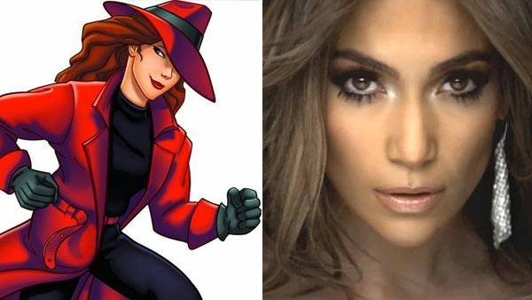 Carmen Sandiego appears in a still from the 1994 TV series, Where in the World Is Carmen Sandiego? / Jennifer Lopez appears in a scene from her 2011 music video On the Floor. - Provided courtesy of PBS / Island Records