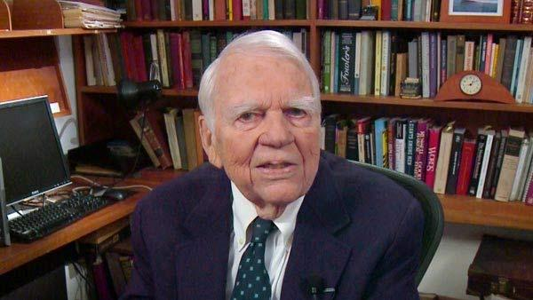In this Aug. 23, 2011 image taken from video and provided by CBS, Andy Rooney tapes his last regular appearance on '60 Minutes' in New York.
