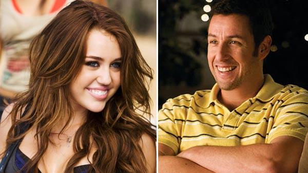 Miley Cyrus appears in a scene from the 2009 music video Party in the U.S.A. / Adam Sandler appears in a still from the 2009 film, Funny People. - Provided courtesy of Hollywood Records / Universal Pictures
