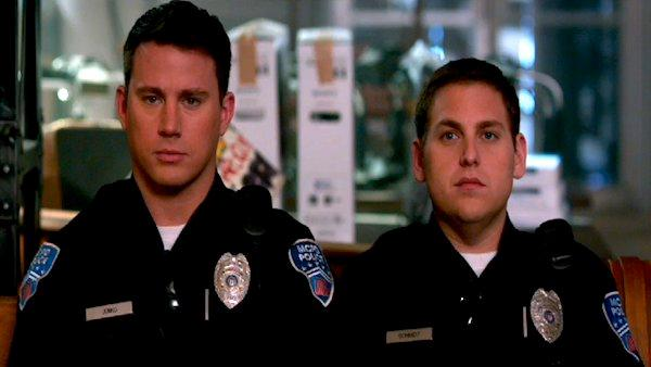 Channing Tatum and Jonah Hill appear in a still from 21 Jump Street. - Provided courtesy of Columbia Pictures