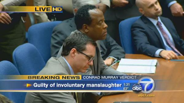 Nov. 7, 2011: Michael Jackson's doctor Conrad Murray reacts as a jury announces its verdict regarding his involuntary manslaughter charge after a six-week trial.