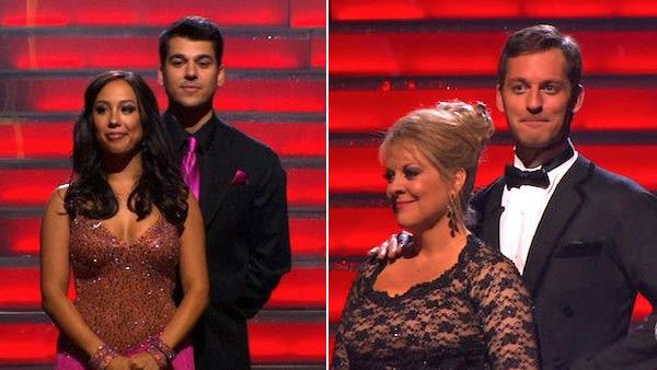 Television host Nancy Grace and her partner Tristan Macmanus, Keeping Up With The Kardashians star Rob Kardashian and his partner Cheryl Burke await possible elimination on Dancing With The Stars: The Result Show on Tuesday, November 1, 2011. - Provided courtesy of ABC