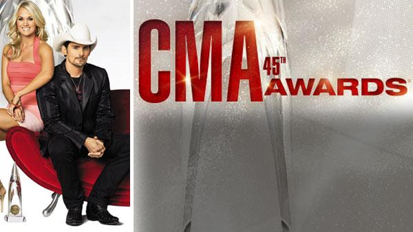 Brad Paisley and Carrie Underwood appear in a promotional photo for the 2011 CMA Awards. - Provided courtesy of Country Music Association