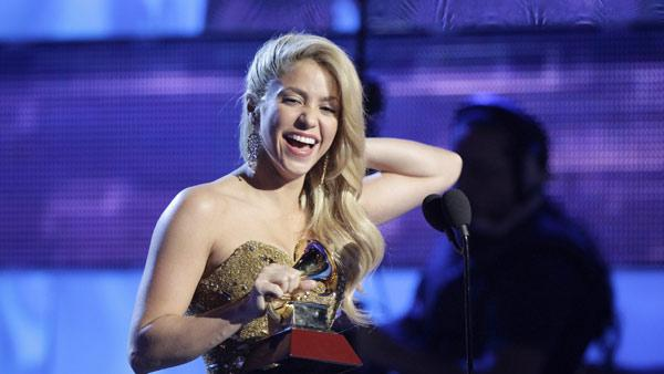 Shakira accepts the person of the year award at the 12th Annual Latin Grammy Awards on Thursday, Nov. 10, 2011 in Las Vegas. - Provided courtesy of AP / Julie Jacobson