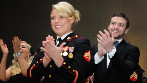 Justin Timberlake and Cpl. Kelsey De Santis appear in a photo from WJLAs official Facebook page. - Provided courtesy of Facebook.com/wjlatv