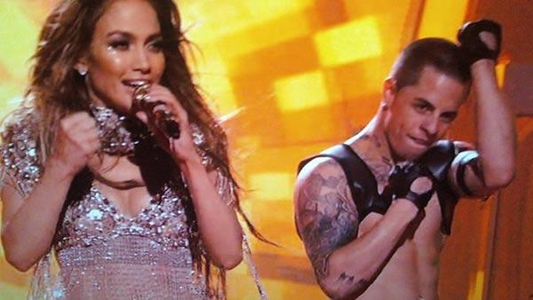 Jennifer Lopez and Casper Smart appear in a still from a 2011 episode of American Idol. - Provided courtesy of OTRC / FOX