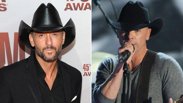 Kenny Chesney performs and Tim McGraw arrives at the 45th Annual CMA Awards in Nashville, Tenn., on Wednesday, Nov. 9, 2011. - Provided courtesy of ABC