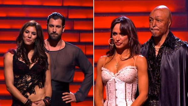 U.S. soccer star Hope Solo and her partner Maksim Chmerkovskiy, All My Children actor and Iraq War veteran J.R. Martinez and his partner Karina Smirnoff await possible elimination on Dancing With The Stars: The Result Show on Nov. 15, 2011. - Provided courtesy of ABC