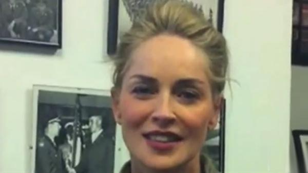Sharon Stone appears in a YouTube video. - Provided courtesy of youtube.com