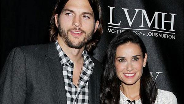 Actor Ashton Kutcher and wife Demi Moore attend the CW network party for 'The Beautiful Life' in New York, on Saturday, Sept. 12, 2009.