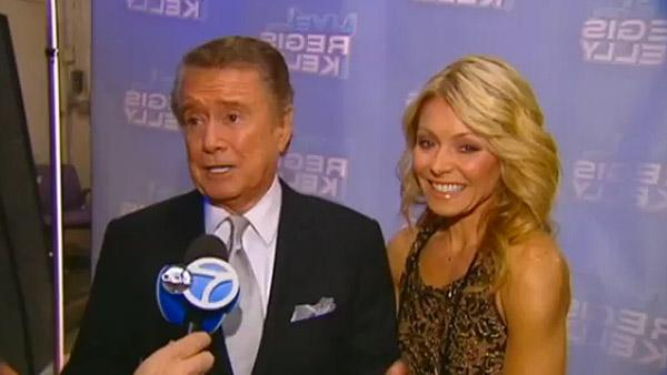 Regis Philbin and Kelly Ripa talk to WABC Television in this interview posted on Nov. 18, 2011, his last regular appearance on LIVE! With Regis and Kelly. - Provided courtesy of WABC