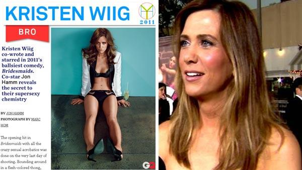 Kristen Wiig appears as GQs Bro of the Year as seen on the magazines website on Nov. 21, 2011. / Kristen Wiig talks to OnTheRedCarpet.com at the April 2011 premiere of the movie Bridesmaids. - Provided courtesy of OTRC / GQ