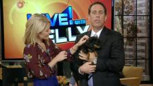 Kelly Ripa and Jerry Seinfeld and his dog appear on LIVE! with Kelly on Nov. 22, 2011. - Provided courtesy of ABC