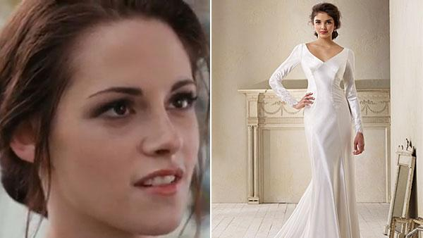 Kristen Stewart appeara in a still from the 2011 film, The Twilight Saga: Breaking Dawn - Part 1. / A photo of the wedding dress replica featured on the Alfred Angelo website. - Provided courtesy of Summit Entertainment