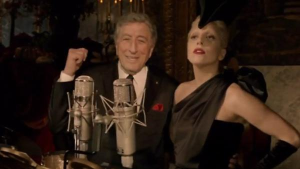 Lady Gaga and Tony Bennett appear in a scene from the ABC special A Very Gaga Thanksgiving, which aired on Nov. 24, 2011. - Provided courtesy of ABC