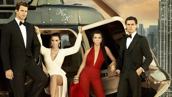 Kim and Kourtney Kardashian, Scott Dissick and Kris Humpries appear in a promotional image for Kourtney and Kim take New York in 2011. - Provided courtesy of E!