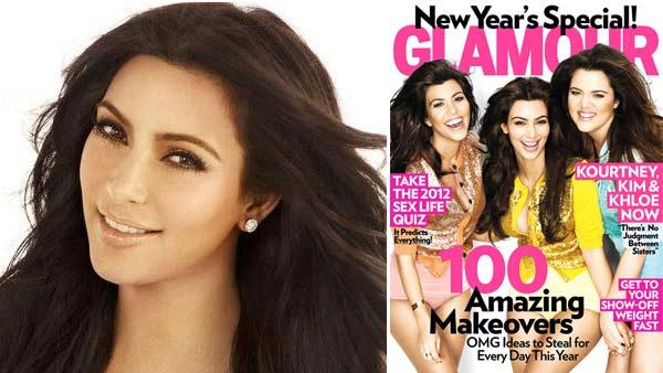 Kim Kardashian appears in a promotional image for Keeping Up With The Kardashians in 2011 / Kim, Kourtney and Khloe Kardashian appear on the cover of Glamour magazines January 2011 issue. - Provided courtesy of E! / Glamour