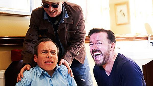 Johnny Depp (top), Warwick Davis (left) and Ricky Gervais appear in a promotional photo for the show Lifes Too Short. - Provided courtesy of BBC