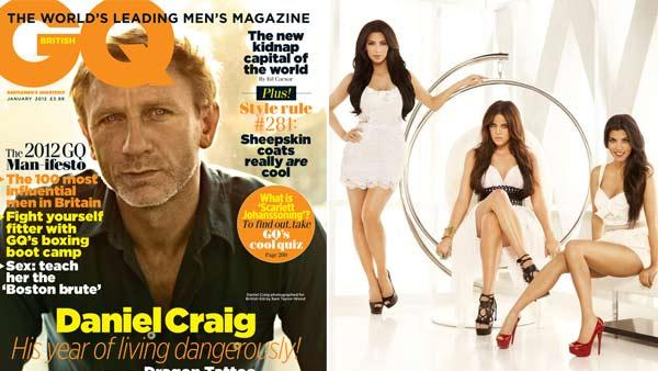 Daniel Craig appears on the cover of the Jaunary 2012 issue of Britans GQ /  Kim, Khloe and Kourtney Kardashian seen in a promotional photo for her Keeping Up With The Kardashians series. - Provided courtesy of GQ / NBC