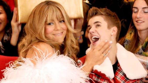 Justin Bieber and Mariah Carey appear in a still from All I Want For Christmas. - Provided courtesy of Island Def Jam