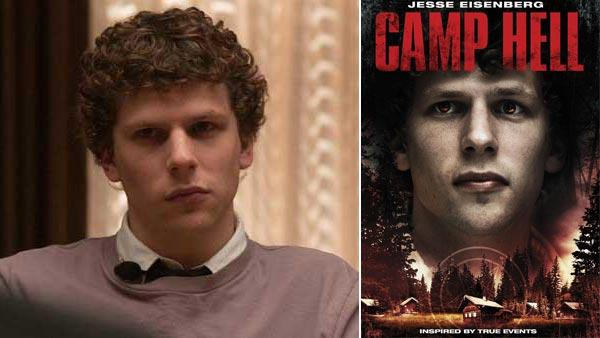 Jesse Eisenberg appears in a still from The Social Network. / Jesse Eisenberg appears on a promotional poster for Camp Hell. - Provided courtesy of Columbia Pictures / Lionsgate