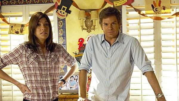 Michael C. Hall and Jennifer Carpenter appear in a scene from the Showtime series Dexter. - Provided courtesy of Showtime