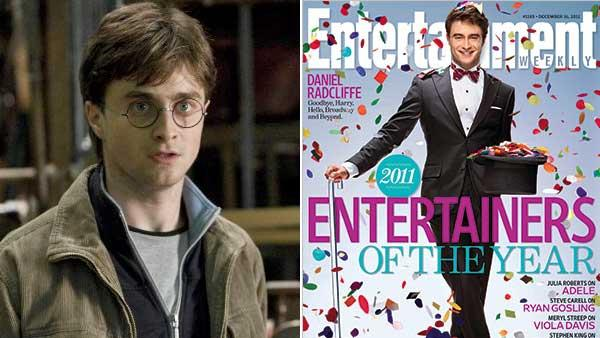 Actor Daniel Radcliffe appears in a scene from Harry Potter and the Deathly Hallows - Part 2 in 2011. / Radcliffe appears on the cover of Entertainment Weekly for Dec. 9, 2011. - Provided courtesy of Warner Bros. / EW