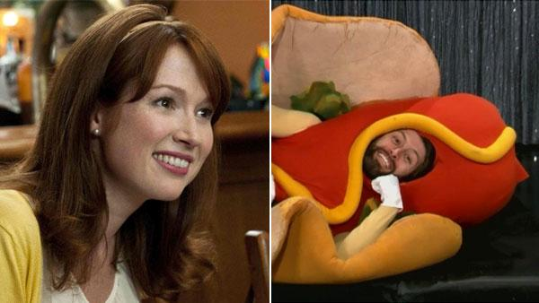 Ellie Kemper appears in a promotional photo for the 2011 film 'Bridesmaids.' / Michael Koman appears in a still from 'Conan.'
