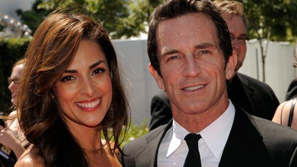 Jeff Probst and Lisa Ann Russell arrive at the Creative Arts Emmy Awards on Saturday, Aug. 21, 2010 in Los Angeles. - Provided courtesy of AP / Chris Pizzello