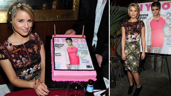 Dianna Agron, who plays Quinn Fabray on Glee, appears at Nylon magazines dinner party to celebrate its December/January issue, which features the actress on the cover. The event took place on Dec. 7, 2011 at the Writers Room in Los Angeles. - Provided courtesy of Michael Buckner / WireImage