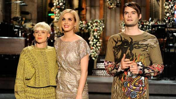 Katy Perry, Robyn and Bill Hader appear in a promotional photo for the December 10 episode of Saturday Night Live. - Provided courtesy of NBC / Dana Edelson