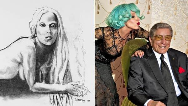 Lady Gaga and Tony Bennett appear in a still from their The Lady Is a Tramp music video. / A sketch of Lady Gaga by Tony Bennett from 2011. - Provided courtesy of Sony Music Entertainment / eBay.com
